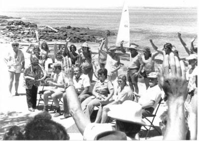 Public meeting Broulee Beach, 1980 - 150 people attended and only two voted against the Club House being built where it now stands.
