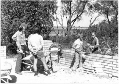 First bricks - Work begins on the clubhouse (visible L to R. Jack Horne, Gerry Fafie, Kel Wehner)